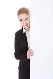 Donna di affari Holding Placard Fotografie Stock