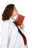 Donna di affari incinta con il taccuino Fotografia Stock Libera da Diritti