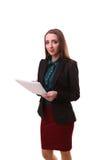 Donna di affari indiana che giudica bianco bianco dello spazio della copia del cartello posteriore Fotografia Stock