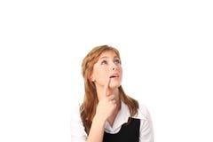 Donna di affari isolata contro bianco Fotografie Stock