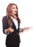 Donna di affari isolata su bianco Immagini Stock Libere da Diritti