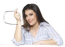 Donna di affari isolata su fondo bianco immagine stock libera da diritti