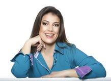 Donna di affari isolata su fondo bianco immagini stock