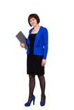 Donna di affari isolata su priorità bassa bianca immagine stock libera da diritti