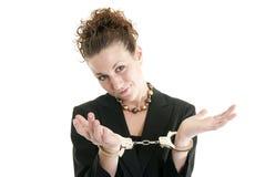 Donna di affari in manette Fotografie Stock Libere da Diritti