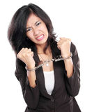 Donna di affari in manette Immagini Stock Libere da Diritti