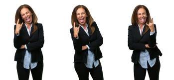 Donna di affari di medio evo con capelli lunghi immagini stock libere da diritti