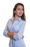 Donna di affari moderna con capelli scuri lunghi Fotografia Stock Libera da Diritti