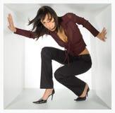 Donna di affari nel cubo Fotografie Stock Libere da Diritti
