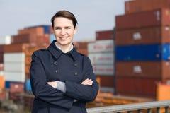 Donna di affari nell'esportazione Immagini Stock Libere da Diritti