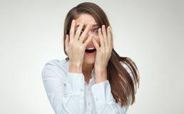 Donna di affari nella depressione con emozione di timore Fotografia Stock