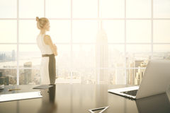 Donna di affari nella tonalità dell'ufficio Immagine Stock Libera da Diritti