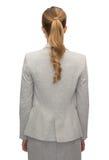 Donna di affari o insegnante in vestito dalla parte posteriore Fotografie Stock