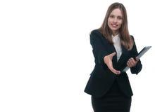 Donna di affari o segretario Businesswoman che dà stretta di mano Fotografie Stock Libere da Diritti