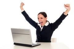 Donna di affari Overjoyed Fotografia Stock Libera da Diritti