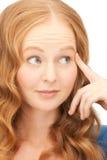 Donna di affari pensierosa sopra bianco Fotografie Stock