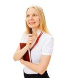Donna di affari Pensive con il libro e la penna Immagine Stock