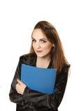 Donna di affari piacevole con la cartella in mani Fotografie Stock