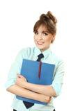 Donna di affari piacevole con la cartella in mani Fotografia Stock Libera da Diritti