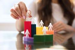 Donna di affari Placing Human Figures sul diagramma a torta 3d immagini stock