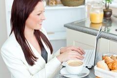 Donna di affari positiva che per mezzo del suo computer portatile nel paese Fotografia Stock