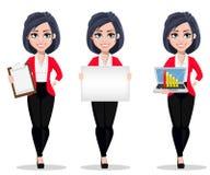 Donna di affari, responsabile, banchiere, un insieme di tre pose Immagine Stock Libera da Diritti