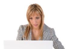 Donna di affari, segretaria o allievo con il computer portatile Fotografia Stock
