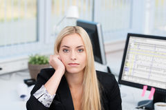Donna di affari seria annoiata Fotografia Stock Libera da Diritti