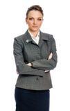 Donna di affari seria in vestito grigio Fotografia Stock Libera da Diritti