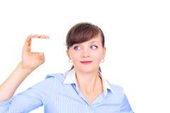 Donna di affari sexy con il biglietto da visita Immagine Stock Libera da Diritti