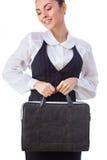 Donna di affari sicura With Briefcase tutti immagini stock