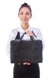 Donna di affari sicura With Briefcase tutti immagine stock