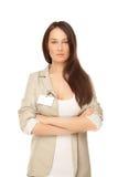 Donna di affari sicura che guarda alla macchina fotografica Fotografia Stock