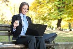 Donna di affari sorridente che osserva in computer portatile Fotografia Stock Libera da Diritti
