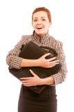 Donna di affari sorridente che tiene un portafoglio Immagini Stock Libere da Diritti