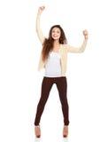 Donna di affari sorridente con le mani su, isolato sopra fotografie stock libere da diritti
