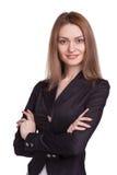 Donna di affari sorridente felice con il braccio piegato isolato Immagine Stock Libera da Diritti