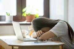 Donna di affari sovraccaricata ed esaurita che dorme sopra il computer portatile nella h Fotografia Stock