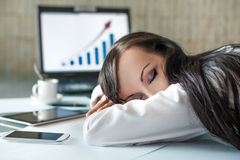 Donna di affari stanca Fotografia Stock