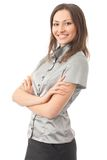 Donna di affari, su bianco Fotografie Stock Libere da Diritti