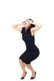 Donna di affari su fondo bianco Fotografie Stock