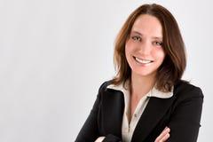 Donna di affari su gray Immagini Stock Libere da Diritti