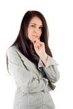 Donna di affari su priorità bassa bianca Immagini Stock Libere da Diritti