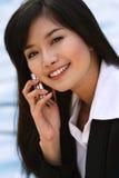 Donna di affari su un telefono Fotografie Stock