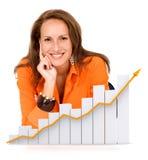 Donna di affari - successo Fotografie Stock Libere da Diritti