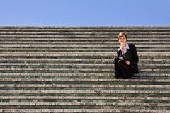 Donna di affari sui punti Fotografia Stock