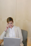 Donna di affari sul computer portatile Immagini Stock Libere da Diritti
