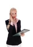 Donna di affari sul suo telefono cellulare Fotografia Stock Libera da Diritti