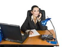 Donna di affari sul telefono Fotografia Stock