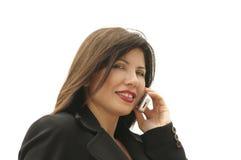 Donna di affari sul telefono Fotografie Stock Libere da Diritti